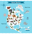 Map of North America continent with animals vector image vector image