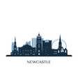 newcastle skyline monochrome silhouette vector image vector image