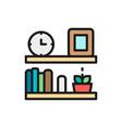 office shelf bookshelf flat color line icon vector image