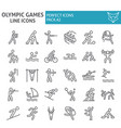 olympic games line icon set sport symbols vector image