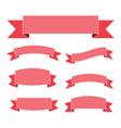 Pink ribbon banners set flat vector image vector image
