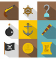 pirates adventure icon set flat style vector image vector image