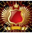 red banner with gold wings vector image vector image