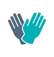 rubber medical gloves colored icon hand vector image vector image