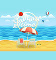 seaside with umbrella beach landcape vector image vector image