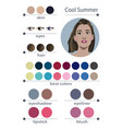 seasonal color analysis palette for cool summer vector image vector image