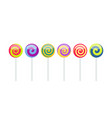 set colorful lollipop sweet candies isolated vector image