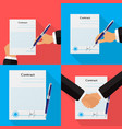 set of four different contracts backgrounds vector image vector image