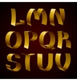 Set of isolated golden shiny ribbon font L-V vector image