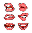 set of lips on white vector image