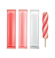 Set of Strawberry Popsicle Lollipop on Stick vector image vector image