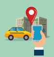smartphone with gps navigation app vector image vector image