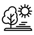 sun and tree line icon nature vector image