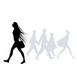 teen girl with long hair in wind walking on vector image