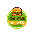 vegan burger and food logo menu vector image vector image