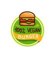 Vegan burger and food logo menu