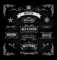 western hand drawn blackboard banners vintage vector image