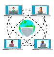 world map with mask and laptops with avatars vector image vector image