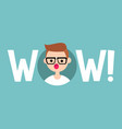 wow sign surprised young nerd with open mouth vector image vector image