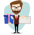 young man holding envelope and gift vector image