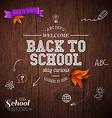 Vintage back to school card Wooden background vector image