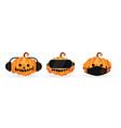 3 halloween pumpkins set vector image vector image