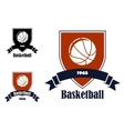 Basketball sports emblems and symbols vector image vector image