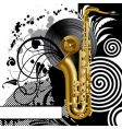 black background with a saxophone vector image vector image