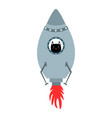 blue space shuttle with cute cartoon style cat vector image