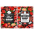 butcher shop meat and sausages butchery food vector image vector image