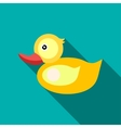 Children s toy duck on blue-green background vector image