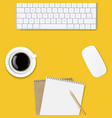 computer keyboard frame isolated yellow background vector image vector image
