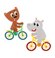 cute little hippo and bear kitten characters vector image vector image