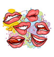 different lips on colored background vector image vector image