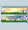easter sale banner with beautiful colorful eggs vector image vector image