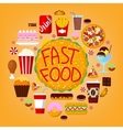 fastfood icons set with burger soda and pizza vector image