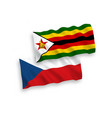 flags czech republic and zimbabwe on a white vector image vector image