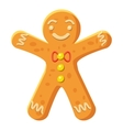 Gingerbread man icon cartoon style vector image