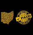golden dollar collage of mosaic map of ohio state vector image