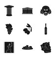 Greece set icons in black style Big collection of vector image vector image
