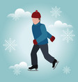 isometric isolated man skating winter sport vector image