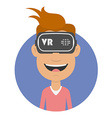 Joyful and happy man in virtual reality headset vector image