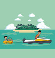 man in float over sea vector image