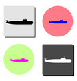 military submarine flat icon vector image vector image