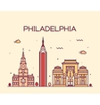 Philadelphia skyline trendy linear style vector image vector image