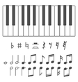 Piano keys and notes vector image vector image