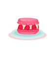 pink macaron with fresh raspberry delicious vector image