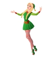 Pretty girl in green Christmas elf costume vector image