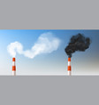 red white smoke chimneys realistic stack pipes vector image