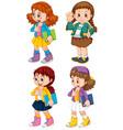 set cute girl character vector image
